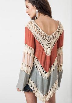 99196237c74 Blusa Indiana com Detalhes em Crochet Flare
