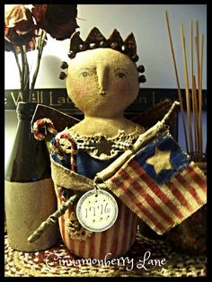 Primitive Folk Art Americana Angel Doll Liberty 1776 Antique Style #NaivePrimitive #Artist