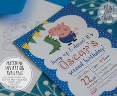 Personalised Peppa Pig George Pig Birthday by OrangePaperDuck - Cumple George Pig, Peppa Pig Y George, George Pig Party, Peppa Pig Invitations, Party Invitations Kids, Boy Birthday Parties, Birthday Ideas, Third Birthday, Baby Shower