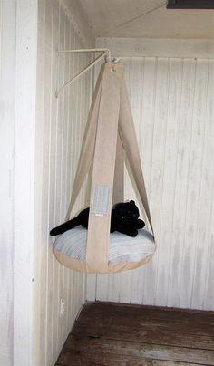 Outdoor Cat Bed Tan & Blue Beach Stripe Single Tier Kitty Cloud Cat Bed, Hanging Cat Bed, Pet Furniture, Cat Tree, Indoor Outdoor Cat Bed