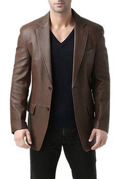 Men/'s MILANO White Lambskin Nappa Leather Smart Blazer Designer 2 Button Jacket