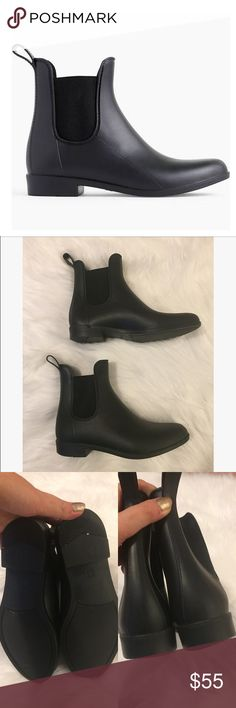 J.Crew Matte Chelsea Rain Boots Like brand new condition. Matte Chelsea Rain boots in excellent condition. Size women's 7. Noticeable scuff/flaw noted in the above photos. Also slight wear to the heel of the boot. All sales final J. Crew Shoes Winter & Rain Boots