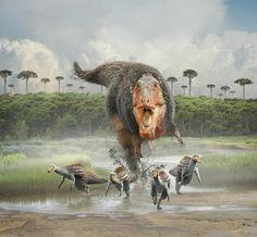 Tarbosaurus bataar panics a group of young Deinocheirus in a nesting grounds by Damir G. Martin
