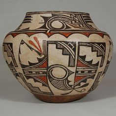 painting southwest ancient indian pots | Zuni Pueblo 19th-century Polychrome Olla [R]