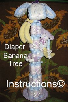 Instructions for a Diaper Banana Tree. Baby shower gift, new baby. Keepsake Centerpiece via Etsy Best Baby Shower Gifts, Baby Shower Fun, Baby Gifts, Baby Showers, April Showers, Safari Diaper Cakes, Nappy Cakes, Baby Shower Diapers, Baby Shower Cakes