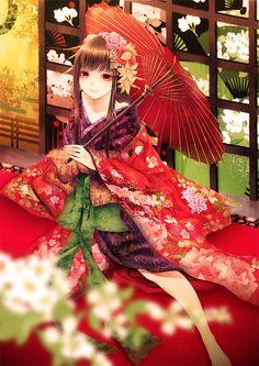anime girl in pretty kimono