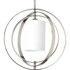 Progress Lighting Equinox 16-in W Polished Nickel Pendant Light with Frosted Glass Shade
