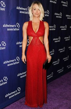 Kaley Cuoco wore a sparkling red dress with cut outs by Naeem Khan to an Alzheimer's Association event.