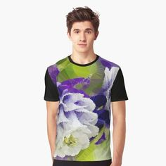 Purple Columbine Low Poly Geometric Floral Triangles Graphic T-Shirt Front