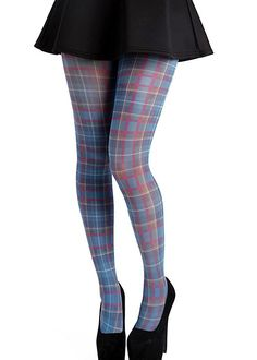 tone in tone plaid pattern New Fashion Oroblu Square plaid patterned tights