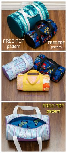 FREE pdf sewing pattern for this Duffle Bag & Mini Duffle Bag.This is a very basic and beginner friendly bag pattern. The medium sized duffle bag is great for sports or as an overnight bag and the mini duffle bag is a perfect size for kids or even a toiletry bag.