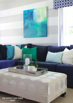 33 best navy and turquoise images beach homes beach - Navy blue and turquoise living room ...