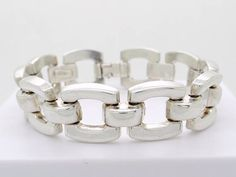 Modernist Design 925 Sterling Silver Bracelet 33 Grams, Geometric Design Heavy Chain Bracelet, Unisex Bracelet 1970s Vintage Italian Jewelry at VintageArtAndCraft
