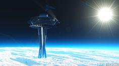 Gelecekte Yapılması Planlanan Uzay Asansörünün Temsili Fotoğrafı