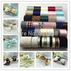 TC10 42 Yards Mixed ribbon set,Grosgrain/Satin Ribbon,Stripe ribbon ,Printed ribbon,Children Garment Accessories