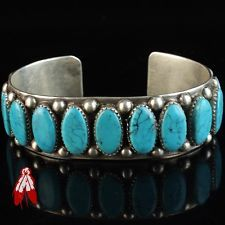 Classic sterling silver blue turquoise row bracelet 92.5 vintage Navajo old pawn