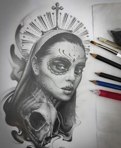 Sketches of Black and White Tattoos ?Sketches of Black and White Tattoos?Sketches of Black and White Tattoos?Sketches of Black and White Tattoos ? Day Of The Dead Tattoo Designs, Day Of Dead Tattoo, Skull Girl Tattoo, Girl Power Tattoo, Chicano Tattoos, Chicano Art, Tattoo Sketches, Tattoo Drawings, Viking Symbols