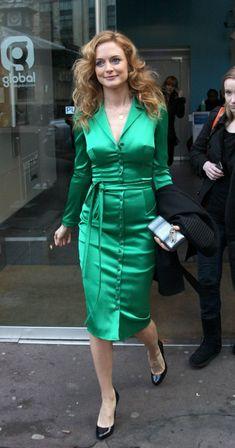 Ladies in Satin Blouses: heather graham - green satin dress Green Satin Dress, Satin Dresses, Heather Graham Hot, Milwaukee, Hollywood Fashion, Hollywood Actresses, Gowns Of Elegance, Satin Blouses, Beautiful Blouses