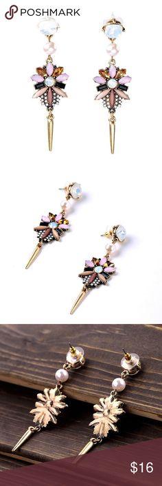 "Spike Drop Earrings Stunning Chandelier Spike Drop Earrings 🔸 Size: 0.94"" x 3.15"" 🔸 Materials: Gold-tone Base Metals, Resin, Rhinestones 🔸 Nickel & Lead Free 🔸 NWT Jewelry Earrings"