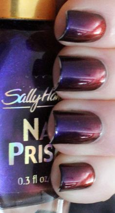 Sally Hansen Nail Prisms Burgundy Orchid over black.