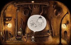 Machinarium One student gets the cartoon-style walkthru and explains to the other what to do, all in English.