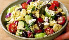 recette salade de pate a la grecque feta vinaigrette My Best Recipe, Pasta Salad, Salad Recipes, Entrees, Potato Salad, I Am Awesome, Salads, Biscuits, Good Food