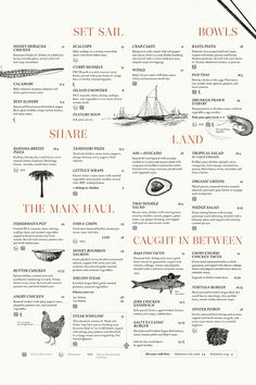 Salty's Beach House   visual communication. graphic design. menu design. restaurant menu. layout. grid. hierarchy. typography. illustration.