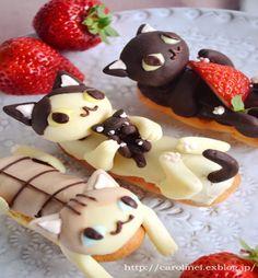 Kitty Shaped Eclairs!!! food !! & chocolate - Cat memes - kitty cat humor funny joke gato chat captions feline laugh photo food yummy dessert