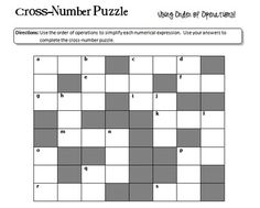 """Order of Operations """"Cross-Number"""" Puzzle"""