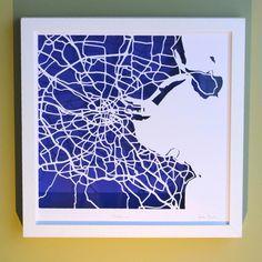 BBpapercuts make papercut maps of Cities, Towns and Villages. Us Map, Me On A Map, Ireland Map, Map Shop, First Wedding Anniversary, Dublin City, Irish Art, Custom Map, Map Art