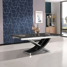 Chanelle Glass Rectangular Extendable Dining Table In Black With Chrome Legs, This ultramodern dining table will be a smart addition to your home decor Features: Extendable Glass Dining Table, Black Glass Dining Table, Wooden Dining Tables, Modern Dining Table, Sofa Set Designs, Chrome, Legs, Furniture, Home Decor