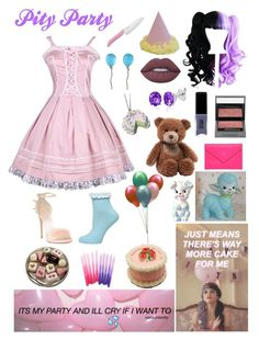 """""""Pity Party - Melanie Martinez"""" by ender1027 ❤ liked on Polyvore featuring Giuseppe Zanotti, Dorothy Perkins, Vhernier, Lime Crime, Burberry, JINsoon, Gund, Belk & Co., Under Cover and Kyocera"""
