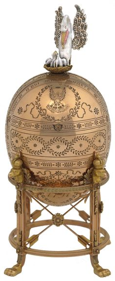 Faberge Egg, Imperial Pelican | Presented to Empress Maria in 1898, the Pelican Egg uses a folding screen to reveal eight miniatures relating to the Empress's charity. ✏✏✏✏✏✏✏✏✏✏✏✏✏✏✏✏ IDEE CADEAU ☞ http://gabyfeeriefr.tumblr.com/archive ..................................................... CUTE GIFT IDEA ☞ http://frenchvintagejewelryen.tumblr.com/archive ✏✏✏✏✏✏✏✏✏✏✏✏✏✏✏✏