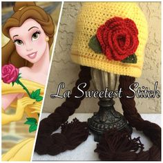 Sombrero crocheted de la princesa Belle. Un maravilloso regalo para  cumpleaños 70dd09e4f90
