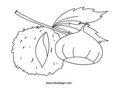 castagna-con-riccio-da-colorare Doodle Coloring, Coloring Pages, Autumn Activities For Kids, Woodland, Rooster, Origami, Kindergarten, Applique, Printables