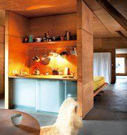 Cool Loft-Like Industrial House With Energetic Interiors In Light Wood : Astonishing Loft Like Industrial House With Small Kitchen Fancy Kitchens, Cabin Kitchens, Loft Kitchen, Kitchen Interior, Mini Kitchen, Kitchen Corner, Home Design, Interior Design, Tiny Loft