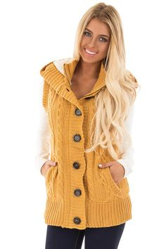 Lime Lush Boutique - Mustard Knitted Sweater Vest with Hood, $38.99 (https://www.limelush.com/mustard-knitted-sweater-vest-with-hood/)