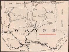 Wayne County Missouri Map 1904 Greenville, Piedmont, Wappapello, Leeper, Mill Spring, Patterson, Silva, Lodi, MO