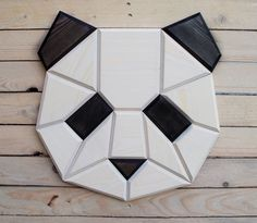 Check out our panda shop, full of panda products and gifts from trusted retailers all over the web. Panda hats, panda toys, panda jewelry and much more! Wood Projects, Woodworking Projects, Polygon Art, Wood Animal, Paper Stars, Animal Heads, Deco Design, Wood Toys, Wooden Walls