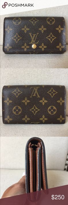Authentic Louis Vuitton Tressor Bifold Wallet Very nice Louis Vuitton wallet. Compact design with coin area, bill area, and card area. No sticky, peeling, or odor. Please ask questions and zoom in photos. Some wear on edge by zipper pull and zipper pull tarnished.  Thanks for looking and open to offers! Louis Vuitton Bags Wallets