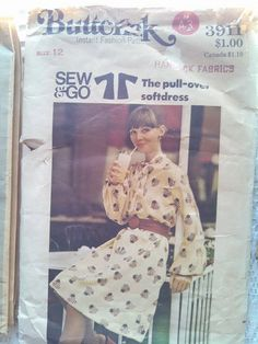 Vintage Butterick 3911 Misses Pull Over Soft Dress by CrazyDeeDee