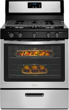 Featuring continuous satin-finish cast-iron grates make it very easy to slide heavy pots and pans to the best cooking position on this Whirlpool gas range stove.