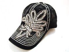 Olive Pique Black Destructed Bling Rhinestone Baseball Hat Cap The Buckle $50 | eBay
