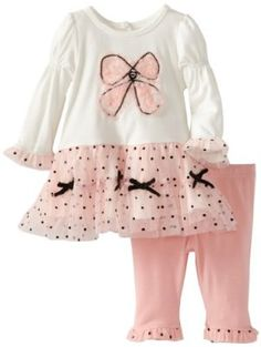 Nannette Baby-Girls Newborn 2 Piece Bow Dress Legging Set