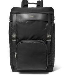 Saint Laurent - Leather-Trimmed Canvas Backpack