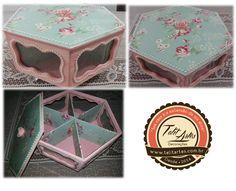 Caixa porta joias/ baleiro pintada com a técnica de pátina linho, encapada com tecido florido na tampa e nas divisórias da parte interna. #TalitArtes #PRESENTES #TENDENCIA #DECORE #SUACASAÉAEXTENSÃODASUAALMA www.talitartes.com.br contato@talitartes.com.br www.facebook.com/TalitArtesedecoracoes