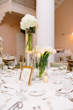 White Centerpieces by Lee James Floral - Elegant Wedding at the Mountain Lake Country Club - White and Gold Wedding-  Photo by Mango Studios - Orange Blossom Bride - Click pin for more - www.orangeblossombride.com