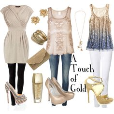 A Touch of Gold!    Fun looks centered around gold.  #Fashion #Clothes #Shoes