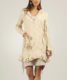 Loving this Beige Rosette Crinkle Zip-Up Jacket on #zulily! #zulilyfinds