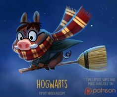Daily Paint Hog-Warts by Cryptid-Creations Cute Animal Drawings, Kawaii Drawings, Cute Drawings, Cute Creatures, Fantasy Creatures, Mythical Creatures, Cute Puns, Funny Cute, Animal Puns